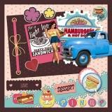 1950 - Hamburger, Hot Dogs, Kaffee, Coffee, Café, Kuchen, Cake, gâteau - Retro