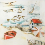 Strand, Meer,  Boot, Möwen, Strandhaus - each, sea, boot, gulls, beach house -  Plage, mer, bateau, mouettes, maison de plage