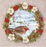 Rehe in Winterlandschaft, Kranz & Rotkehlchen - Deer in winter landscape, Wreath & Robin - Cerfs dans le paysage dhiver, guirlande et Rouge-gorge