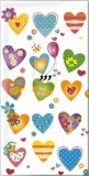 Bunte Herzen & Kleiner Vogel - Colourful hearts & little bird - Coeurs multicolores & petit oiseau