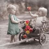 Junge, Mädchen, Bollerwagen & Rosen - Boy, girl, cart & roses - Garçon, fille, chariot & roses