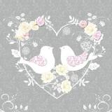 Herz, Rosen, Turteltauben, grau - Heart, Roses, Turtle Doves, grey - Coeur, roses, tourterelles, gris