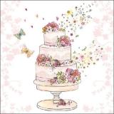 Blumen & Schmetterlinge an 3-stöckiger Torte - Flowers & butterflies on 3-storey cake - Fleurs & papillons au gâteau à 3 étages