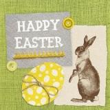 2 Osterhasen, 1 Osterei &  Leinen, grün - 2 Easter bunnies, 1 Easter egg & linen, green - 2 lapins de Pâques, 1 oeuf de Pâques & lin, vert