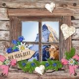 Berghütte, Kuh, Berg, Enzian, Edelweiß... - Mountain hut, cow, mountain, gentian... - Cabane de montagne, vache, montagne, gentiane...