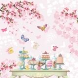 Blumen, Schmetterlinge, Kuchentisch, Geburtstag, Feier, Einladung, Kaffetrinken - Fleurs, papillons, table de gâteau, anniversaire, célébration, invitation, boire du café - Flowers, butterflies, cake