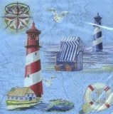 An der Küste mit Leuchttürme, Strandkorb, Haus, Möwen.... - At  the coast with lighthouses, beach basket, house, gulls.... - Sur la côte avec des phares, le panier de plage, la maison, les mouettes...