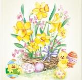Küken, Ostereier & Ostergesteck mit Narzissen - Chicks, Easter eggs & Easter set with daffodils - Chicks, oeufs de Pâques et arrangement de jonquilles
