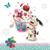 Kleiner Hund mit kleinem Törtchen - Little Dog with cupcake, muffin - Petit chien avec de petites tartes