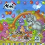 Dinosaurier Feier, Picknick mit Kuchen, Obst, Eis.... - Dinosaur celebration, picnic with cake, fruit, ice cream .... - Partie de dinosaure, pique-nique avec des gâteaux, des fruits, la crème glacée .
