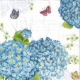 Blaue Hortensien & 3 Schmetterlinge - Blue hydrangeas and 3 butterflies - Hortensias bleus et trois papillons
