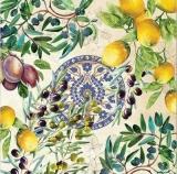 Oliven, Zitronen, Pflaumen & mediterranes Muster - Olives, lemons, plums & Mediterranean pattern - Olives, citrons, prunes et modèle méditerranéen