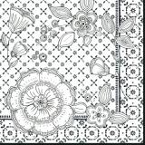 Blumen scharz/weiss - Flowers Black/white - Fleurs blanc/noir