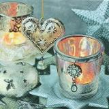 Lichter, Sterne, Herz, silber - Vinatge candle lights, heart, Stars - Lumières, étoiles, coeur, argent