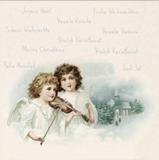 2 nostalgische Engel mit Geige - 2 vinatge angels with violin - 2 Ange nostalgique avec violon