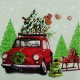 Fiat 500, Tannenbäume, Geschenke, Schlitten, Weihnachtsbaum - Fiat 500, fir trees, gifts, sleigh, Christmas tree - Fiat 500, arbres de Noël, cadeaux, traîneau...