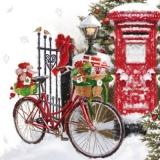 Fahrrad mit Geschenken im Schnee - Bicycle with presents in the snow - Vélo avec des cadeaux dans la neige