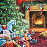 Weihnachtsbaum, Geschenke, Kleiner Hund am Kamin - Christmas tree, presents, small dog by the fireplace - Arbre de Noël, des cadeaux, petit chien près de la cheminée