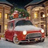 Geschenke & Weihnachtsbaum auf dem  Auto - Presents and Christmas tree on the car - Cadeaux et arbre de Noël sur la voiture