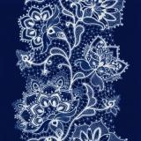 Weißes Spitzenblumenmuster auf dunkelblau - White Flower Lace pattern on navy blue - Modèle de dentelle de fleurs blanc sur bleu foncé
