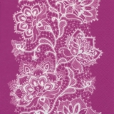Weißes Spitzenblumenmuster auf rosa - White Flower Lace pattern on pink - Modèle de dentelle de fleurs blanc sur rose