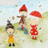 Kinder, Regen, Pfütze, Blätter, Tannenzapfen, Pilz - Children, rain, puddle, leaves, pine cones, mushroom - Enfants, pluie, flaque deau, feuilles, pommes de pin, champignons