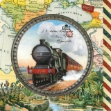 Dampf-Lokomotive, Weltkarte, Reisen - Steam locomotive, world map, traveling - Train à vapeur, Planisphère, Voyage
