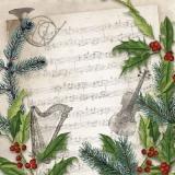 Musik, Noten, Tannenzweige, Musikinstrumente - Music, musical notes, fir branches, music instruments - Musique, notes de musique, branches de sapins, instruments de musique
