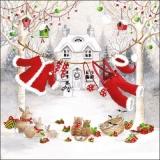 Haus, Schneemann, Vögel, Hasen, Katzen und Weihnachtsmanns Wäscheleine - House, snowman, birds, rabbits, cats and Santa Claus clothesline  - Maison, bonhomme de neige, oiseaux, lapins, chats et corde