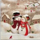 Kleiner Vogel besucht Herrn & Frau Schnemann - Little bird visits Mr. & Mrs. Snowman - Petit oiseau rendu visite à M. et Mme Bonhomme de neige