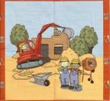 Bauarbeiter auf einer Baustelle beim Hausbau mit Bagger und Betonmischer - Builder/Construction worker on a building site building a house with excavator and concrete mixer - Constructeur / ouvrier de