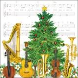 Musikinstrumente, Musiknoten, Weihnachtsbaum - Music instruments, music notes, Christmas tree - Instruments de musique, notes de musique, arbre de Noël