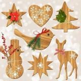 Holzdeko, Reh, Vogel, Schneemann, Tanne, Herz, Sterne - Wood decoration, deer, bird, snowman, fir, heart, stars - Décoration de bois, cerf, oiseau, bonhomme de neige, sapin, coeur, étoiles