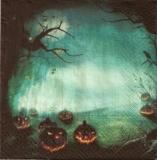 Gruselige Halloween Nacht mit Rabe, Fledermäusen und Kürbisköpfen - Creepy Halloween night with raven, bats and Jack o Lantern - La nuit terrifiant dHalloween avec chauves-souris, corbeau et citroui