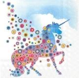 Einhorn mit Wolke & bunten Blumen - Unicorn, Cloud & colorful flowers - Licorne avec nuage et fleurs colorées