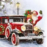 Weihnachtsmann kommt mit Oldtimer und bringt Geschenke - Santa Claus comes with vintage cars and brings gifts - Le père Noël vient avec des voitures anciennes et apporte des cadeaux