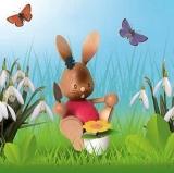 2 Hasen, Holzfiguren im Garten - 2 rabbits, wooden figures in the garden - 2 lapins, figures de bois dans le jardin