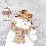 Schneemann & Rotkehlchen - Snowman & Robins - Bonhomme de neige et Robins