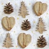 Tannenzapfen, Holzherzen & Holztannenbäume - Pine cones, wooden hearts and fir x-mas trees - Cônes de pin, coeurs en bois et sapins de Noël