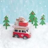Kleiner VW-Bus, Bulli mit Geschenken im Schnee - Little VW bus, Bulli with gifts in the snow - Petit bus VW, Bulli avec des cadeaux dans la neige