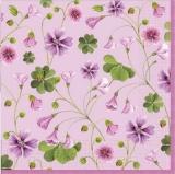 (Glücks) Klee und kleine lila & rosa Blumen - Lucky) clover and little purple & pink flowers - Trèfle (chanceux) et petites fleurs pourpres et roses