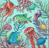 Fische, Muscheln, Quallen, Korallen im Meer - Fish, shells, jellyfish, corals in the sea - Poissons, coquillages, méduses, coraux dans la mer