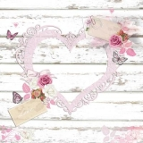 Herz, Rosen, Schmetterlinge & Liebesbrief auf Holz - Heart, roses, butterflies & love letter on wood - Coeur, roses, papillons & lettre damour sur bois