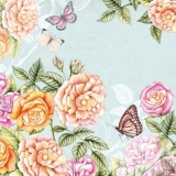 Schmetterlinge im Rosengarten blau - Butterflies in the rose garden, blue - Papillons dans la roseraie, bleu