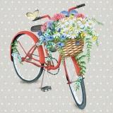 4 Fahrräder (rot, blau, beige, hellblau) mit Blumenkorb( Rosen, Margeriten....) & Schmetterlinge - 4 bikes (red, blue, beige, light blue) with flower basket (roses, daisies ....) & butterflies - 4 vé