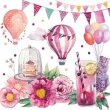 Kuchen, Getränke, Blumen, Ballons, Fähnchen, Feire, Geburtstag, Einladung - Cake, Drinks, Flowers, Balloons, Flags, Celebration, Birthday, Invitation - Gâteau, Boissons, Fleurs, Ballons, Drapeaux, Cél