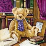 Teddeybär in einer Bibliothek - Plush bear in a library - Ours en peluche dans une bibliothèque