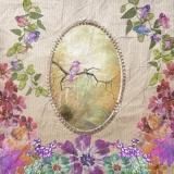 Blumen & kleiner Vogel auf einen Ast - Flowers & little bird on a branch - Fleurs et petit oiseau sur une branche