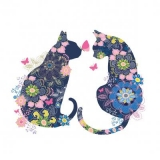 2 Blumenkatzen & Schmetterlinge - 2 flower cats & butterflies - 2 chats et papillons