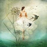 Frau, Blumen & 2 Vögel, Schwalben - Woman, Flowers & 2 birds, Swallows - Femme, Fleurs & 2 oiseaux, Hirondelles